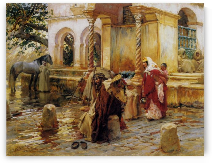 People at the fountain by Frederick Arthur Bridgman