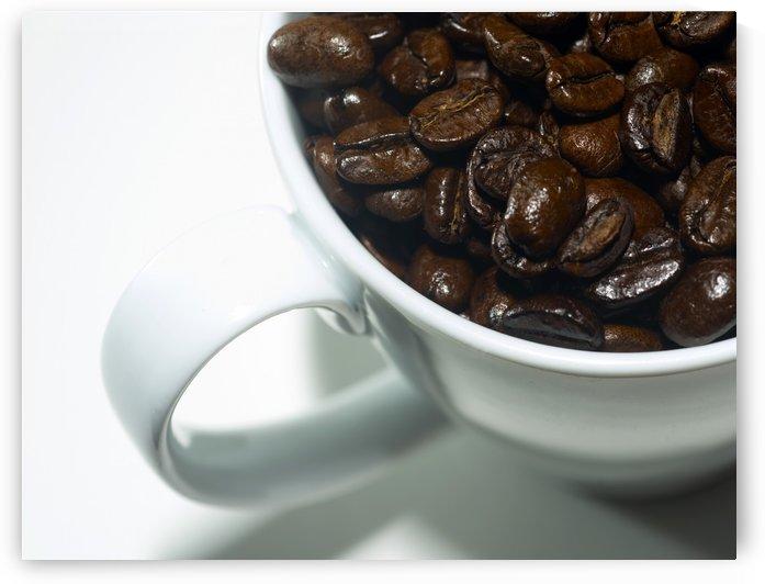 Coffee Beans in white mug by Downundershooter