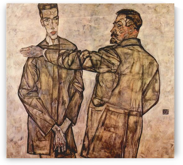 Double Portrait of Heinrich Bensch and his Son Otto by Schiele by Schiele