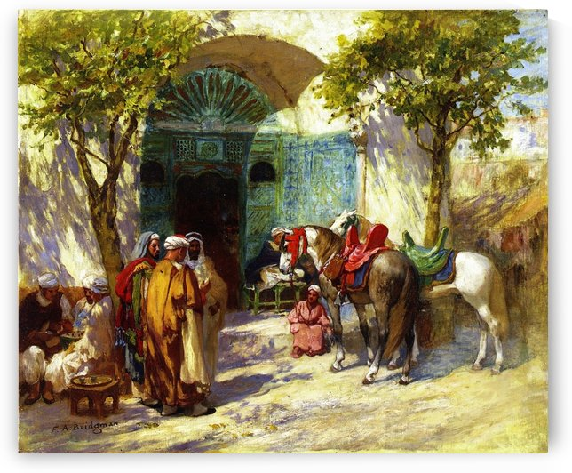 At the mosque gate by Frederick Arthur Bridgman