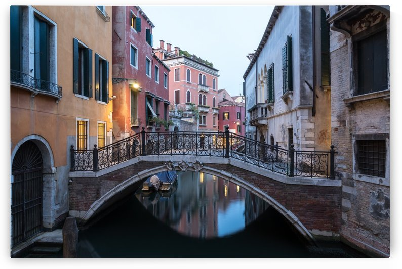 The Magic of Small Canals in Venice Italy - Charismatic Wrought Iron Bridge by GeorgiaM
