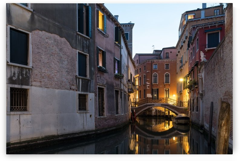 The Magic of Small Canals in Venice Italy - Ponte Balbi Bridge Golden Glow by GeorgiaM