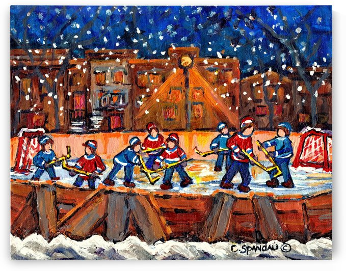 NIGHT HOCKEY MONTREAL NEIGHBORHOOD WINTER SCENE CANADIAN ART CAROLE SPANDAU by Carole  Spandau