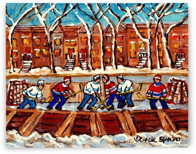 MONTREAL PAINTINGS WINTER SCENES OUTDOOR HOCKEY RINK PAINTING CANADIAN ART CAROLE SPANDAU by Carole  Spandau