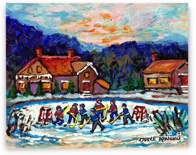 POND HOCKEY CANADIAN PAINTING CAROLE SPANDAU by Carole  Spandau