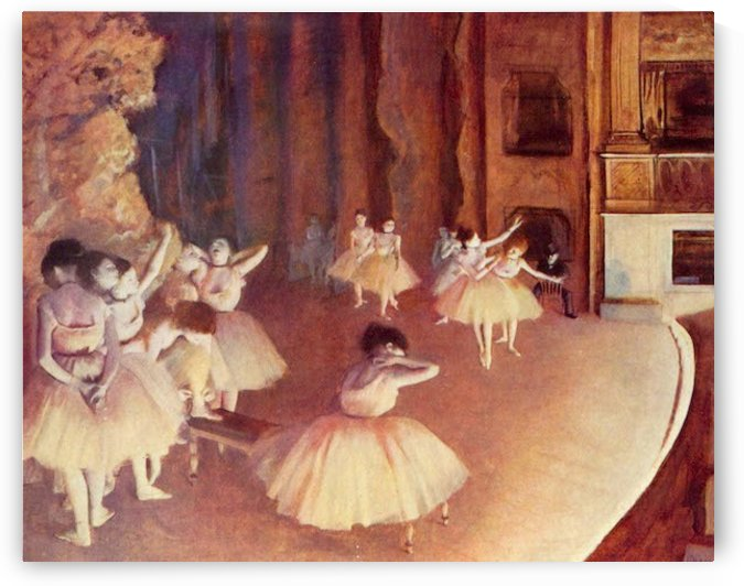 Dress rehearsal of the ballet on the stage by Degas by Degas