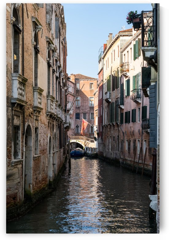 Classic Venetian - Republic of Venice Flag of Saint Mark over a Bridge in a Side Canal by GeorgiaM