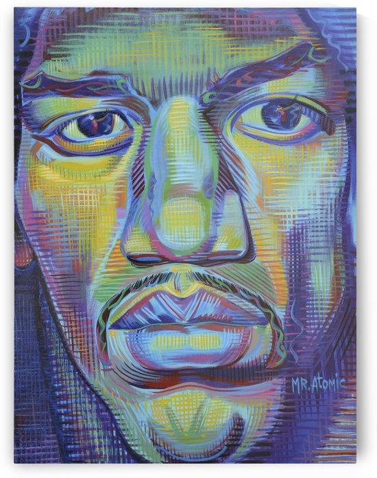 Jimi Hendrix Up Close by Mr  Atomic Art