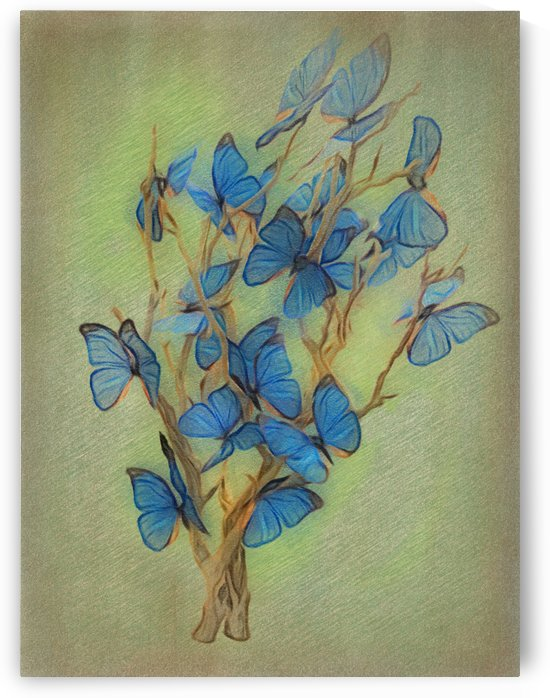 Blue Butterfly Tree by Leslie Montgomery