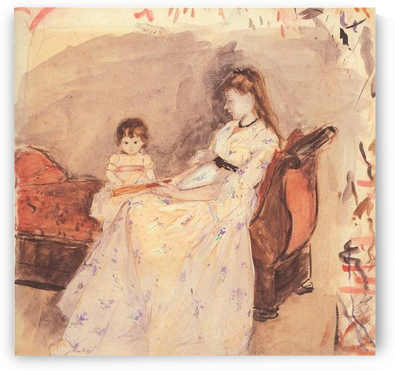 Edma, the sister of the artist with her daughter by Morisot by Morisot