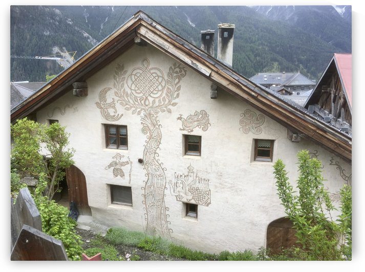 Swiss Engadina House with Life Tree on the Wall by Swiss Art by Patrick Kobler