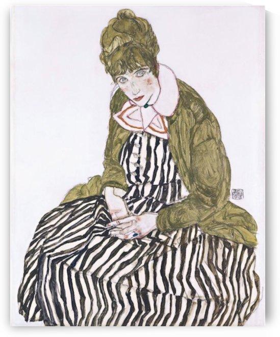 Egon Schiele - Edith with Striped Dress, Sitting by Egon Schiele
