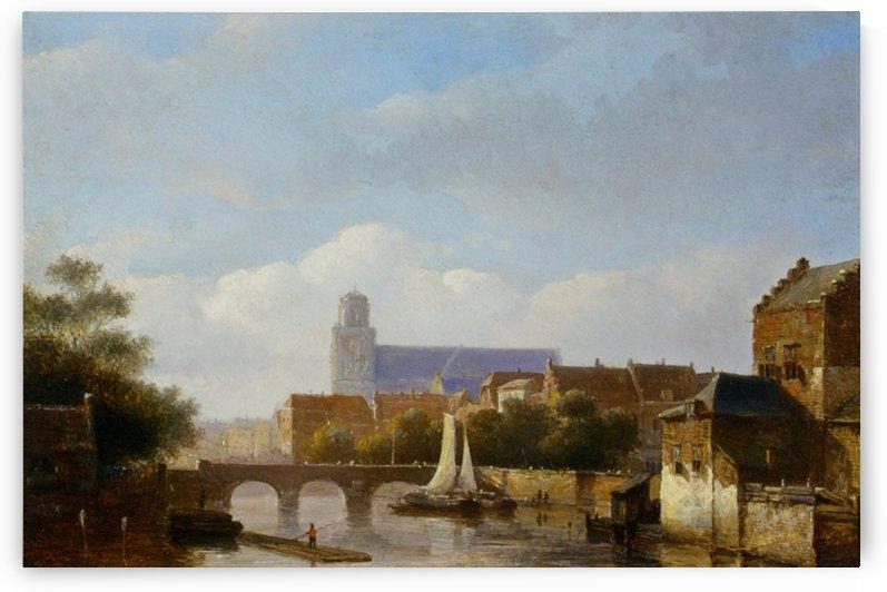 Ansicht einer Stadt am Fluss by Kasparus Karsen