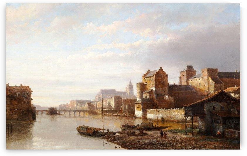 Gezicht op een Nederlandse stad met een brug over een rivier by Kasparus Karsen