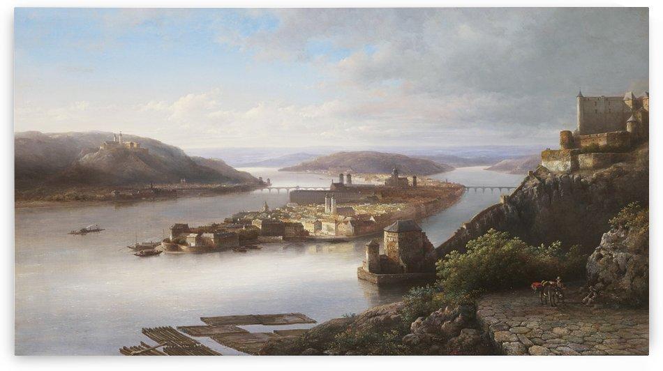 Gezicht op Passau aan de Donau by Kasparus Karsen