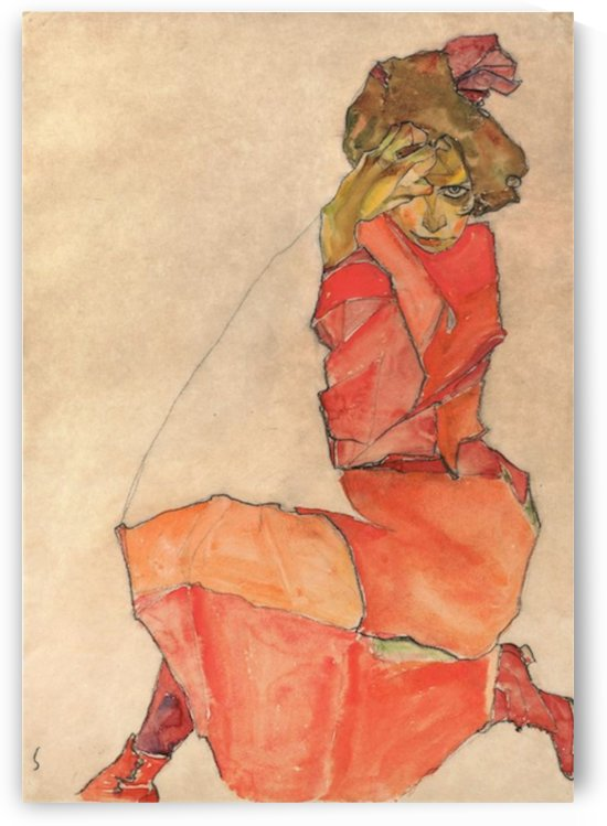 Egon Schiele - Kneeling Woman in Orange-Red Dress by Egon Schiele