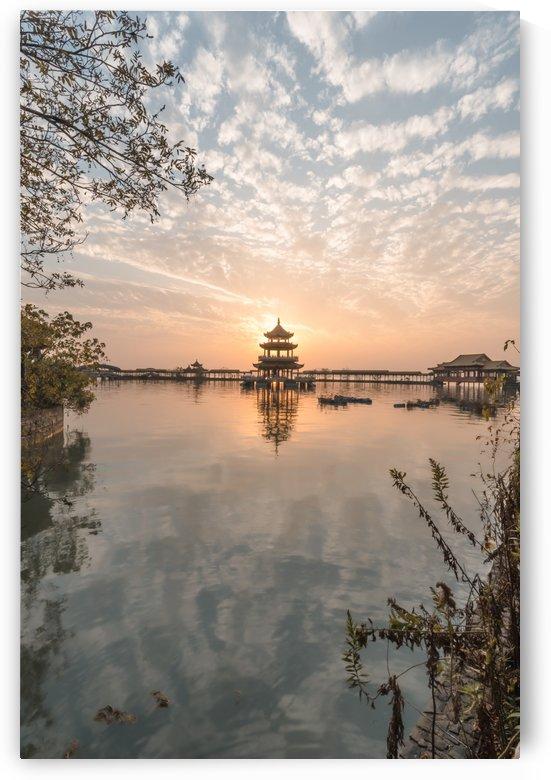 Abandoned Lake Park Sunset Pagoda Temple by Steve Ronin