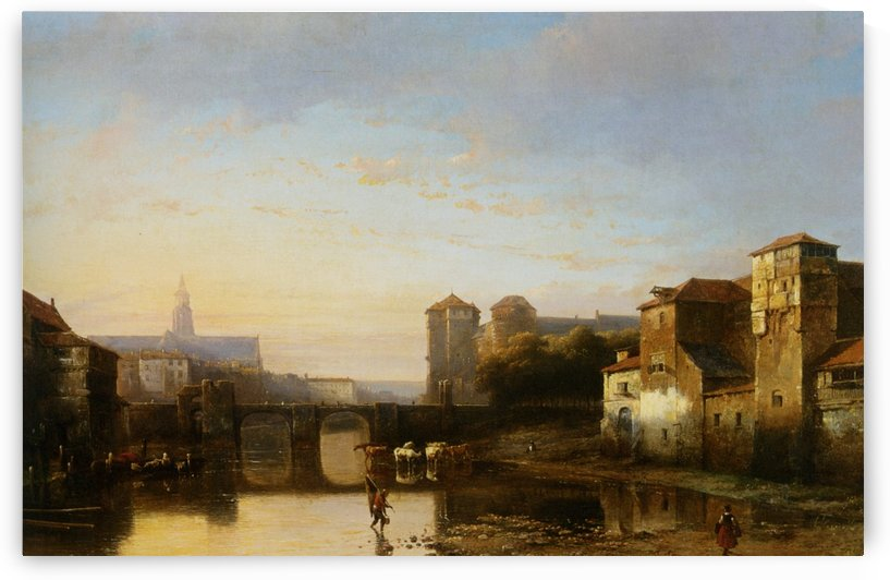 Blick auf eine Stadt am Fluss by Kasparus Karsen