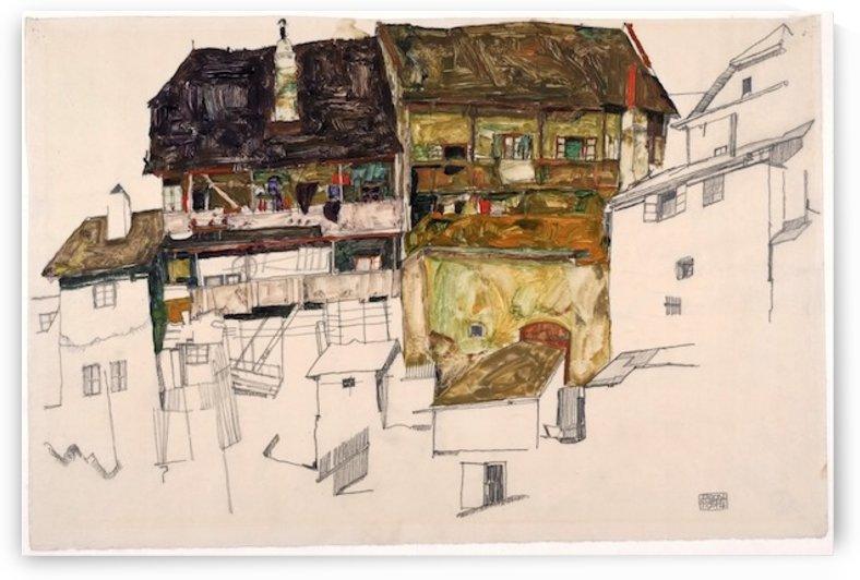 Egon Schiele - Old Houses in Krumau by Egon Schiele