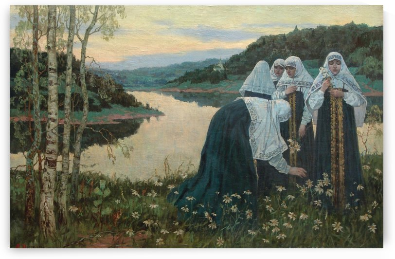 Girls on the Banks of the River by Mikhail Nesterov
