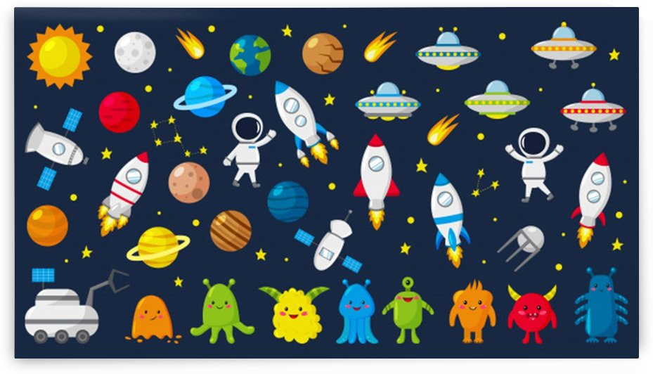 big set cute astronauts space planets stars aliens rockets ufo constellations satellite moon rover vector illustration by Shamudy