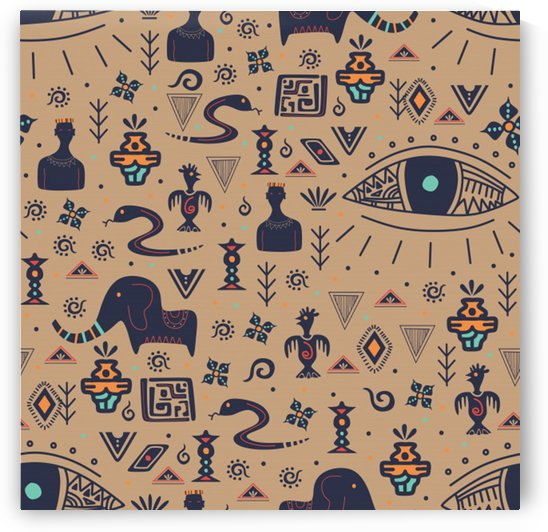 vintage tribal seamless pattern with ethnic motifs_ by Shamudy