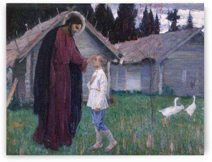 Christ blesses Bartholomew by Mikhail Nesterov