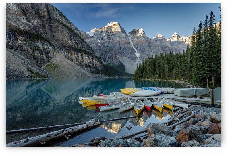 Morraine Lake Canoes by Dan Fleury