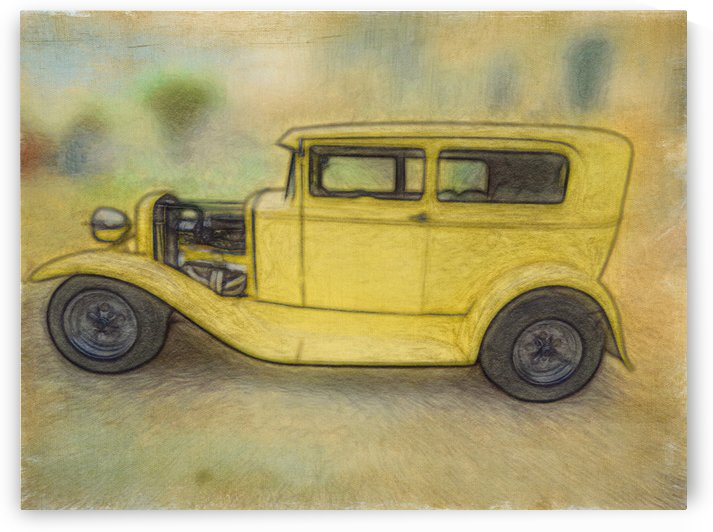 Canary Yellow Hot Rod by Leslie Montgomery