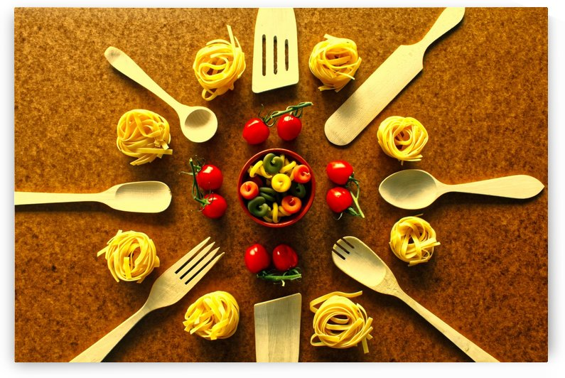 Various pasta and spoons over wooden background by Bentivoglio Photography