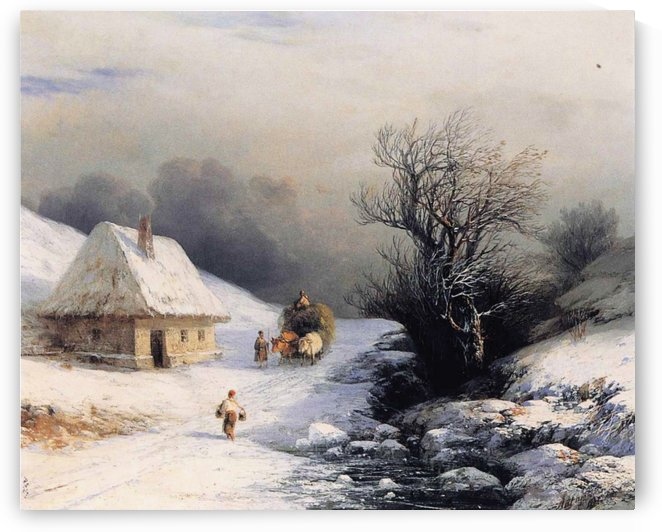 Little Russian Ox Cart in Winter by Ivan Aivazovsky