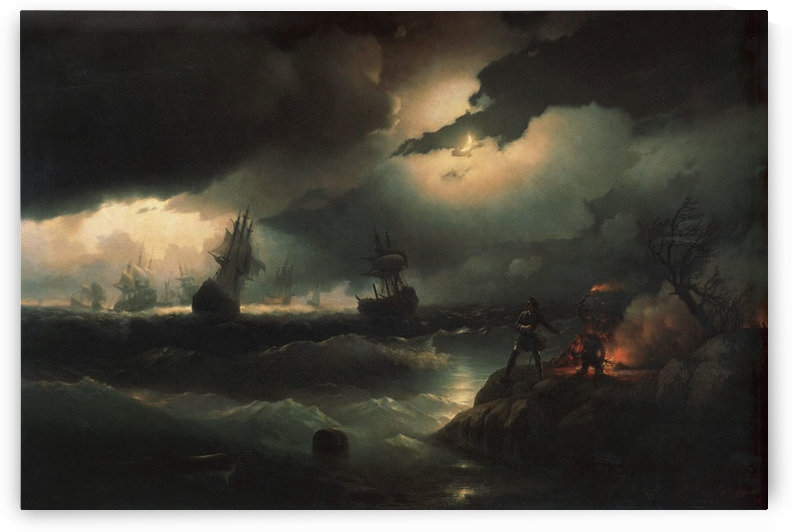 Peter I at Krasnaya Gorka Setting Fire on the Shore to Give a Signal to his Perishing Vessels by Ivan Aivazovsky