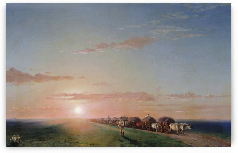 Ox train on the steppe by Ivan Aivazovsky