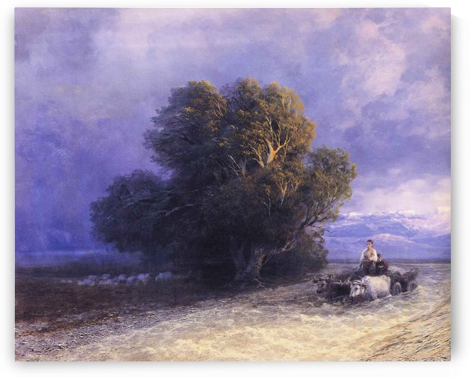 Ox Cart Crossing a Flooded Plain by Ivan Aivazovsky