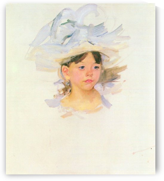 Ellen Mary Cassat with large blue hat by Cassatt by Cassatt