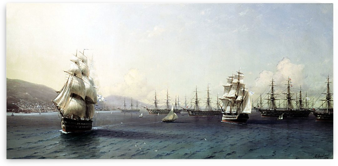 Black Sea Fleet in the Bay of Feodosia, just before the Crimean War by Ivan Aivazovsky