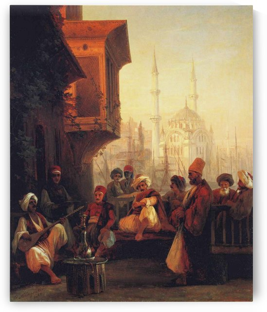 Coffee house by the Ortakoy Mosque in Constantinople by Ivan Aivazovsky