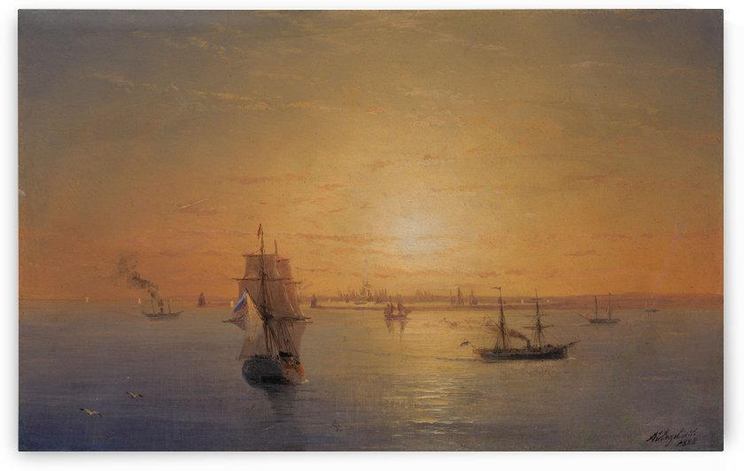 Russian Fleet at Sunset by Ivan Aivazovsky