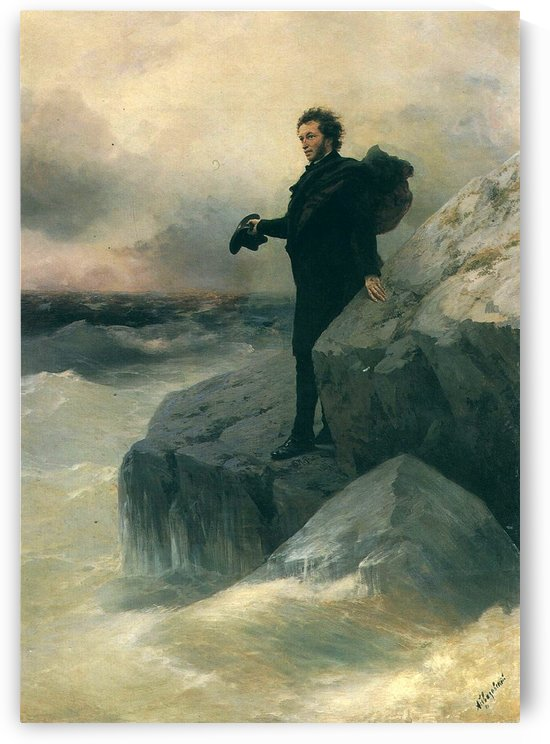 Pushkin and the sea by Ivan Aivazovsky