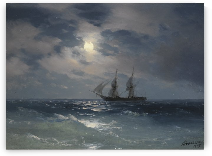The Brig Mercury in moonlight by Ivan Aivazovsky