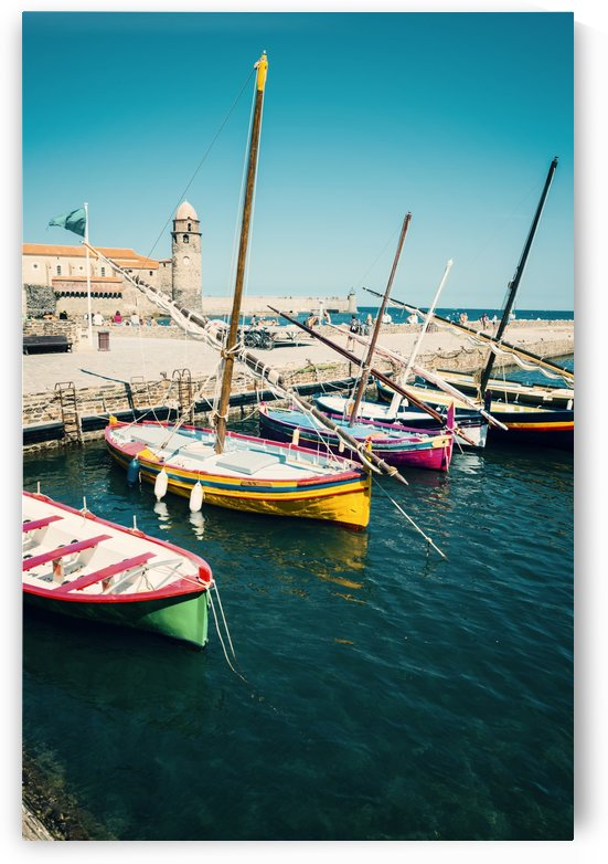 Collioure harbour Anchovy Fishing boats. by Downundershooter