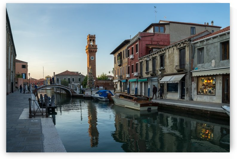 Vibrant Murano Island - Clock Tower Torre dellOrologio with a Christmas Tree Made of Glass by GeorgiaM