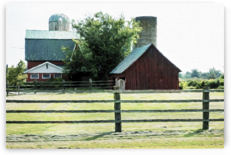 Red Barn Behind The Corral by Leslie Montgomery