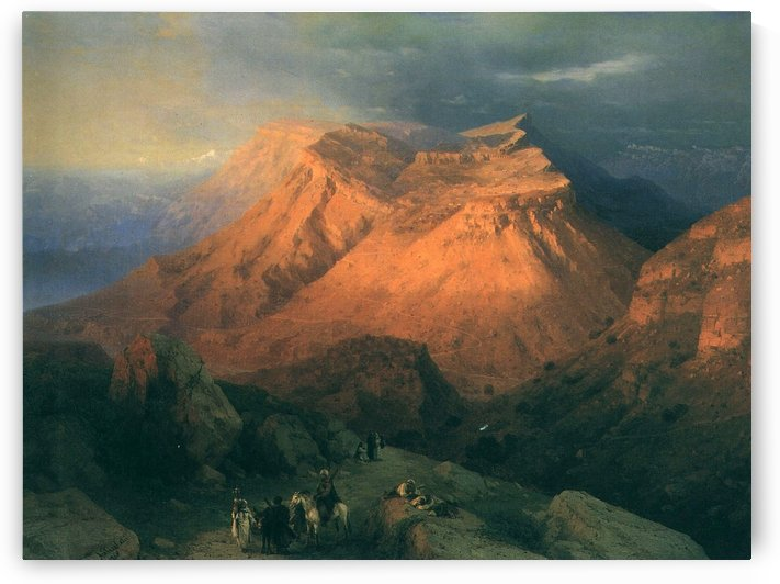 Aul Gunib in Dagestan. View from the East by Ivan Aivazovsky