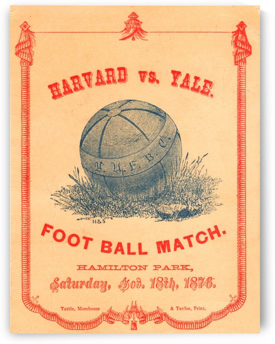 1876 Harvard vs. Yale Football Program Art by Row One Brand