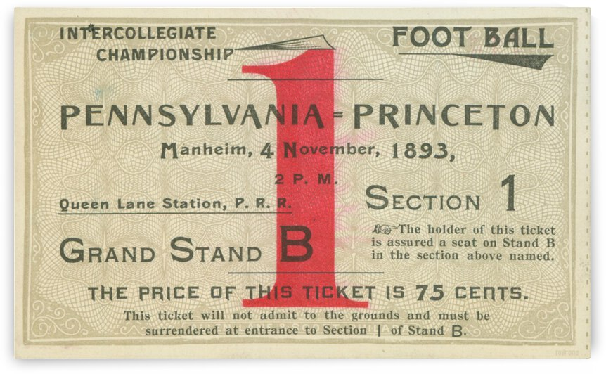 1893 Penn vs. Princeton Tigers Football Ticket Canvas by Row One Brand