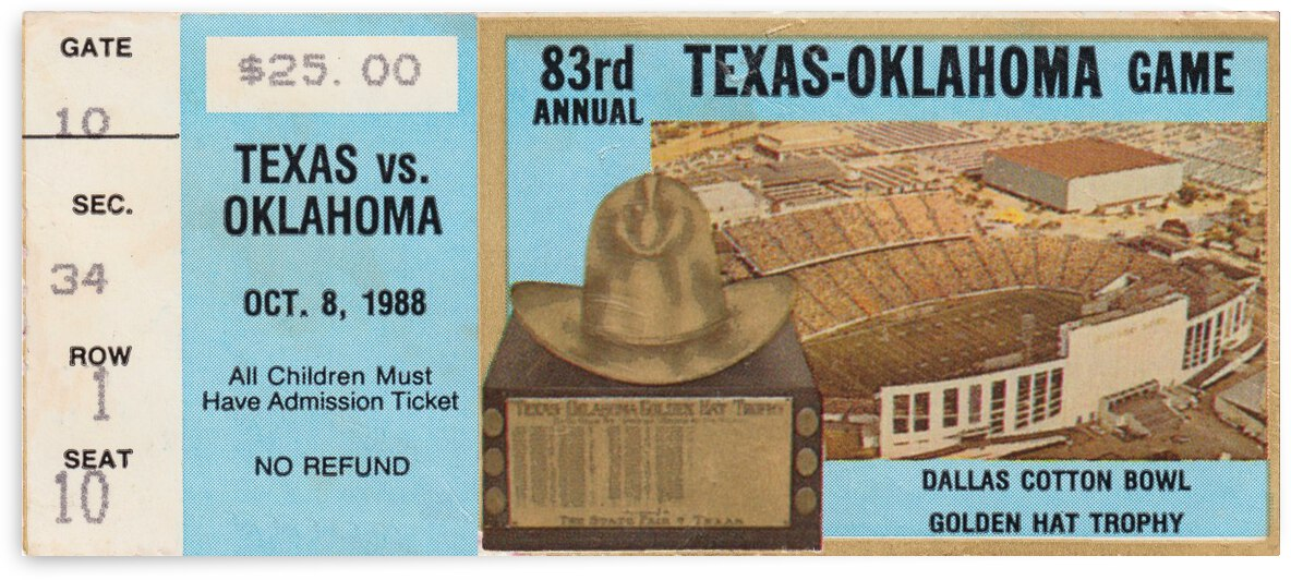 1988 Oklahoma vs. Texas by Row One Brand