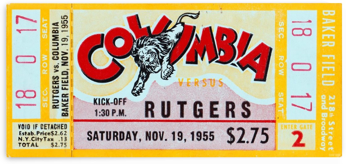1955 Rutgers vs. Columbia by Row One Brand