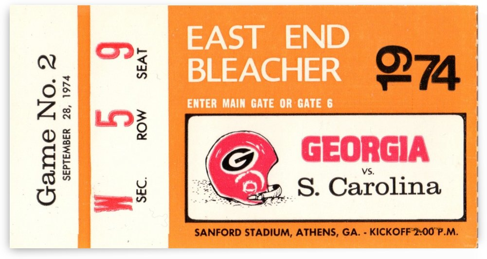 1974 South Carolina vs. Georgia by Row One Brand