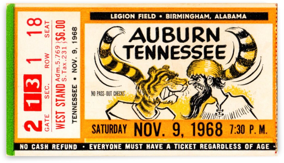 1968 Auburn vs. Tennessee by Row One Brand